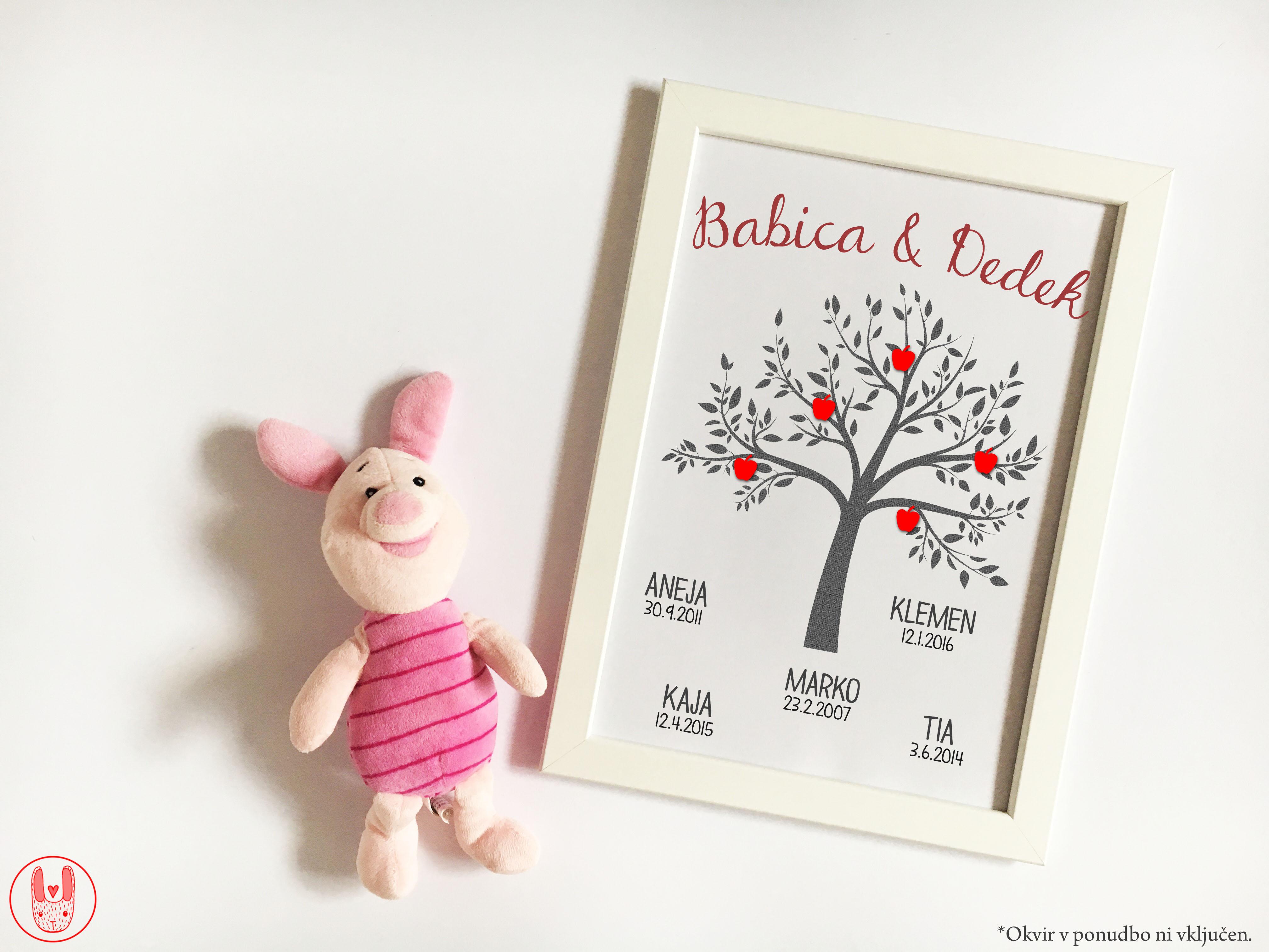 Družinski print Drevo za dedka in babico