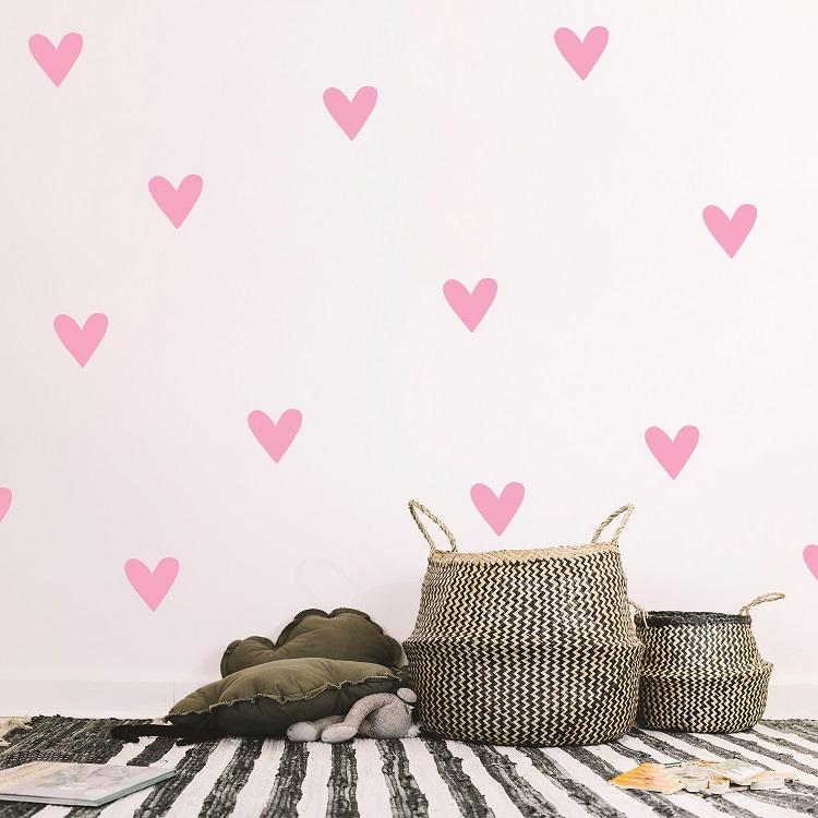 komplet dekorativnih stenskih nalepk srčki