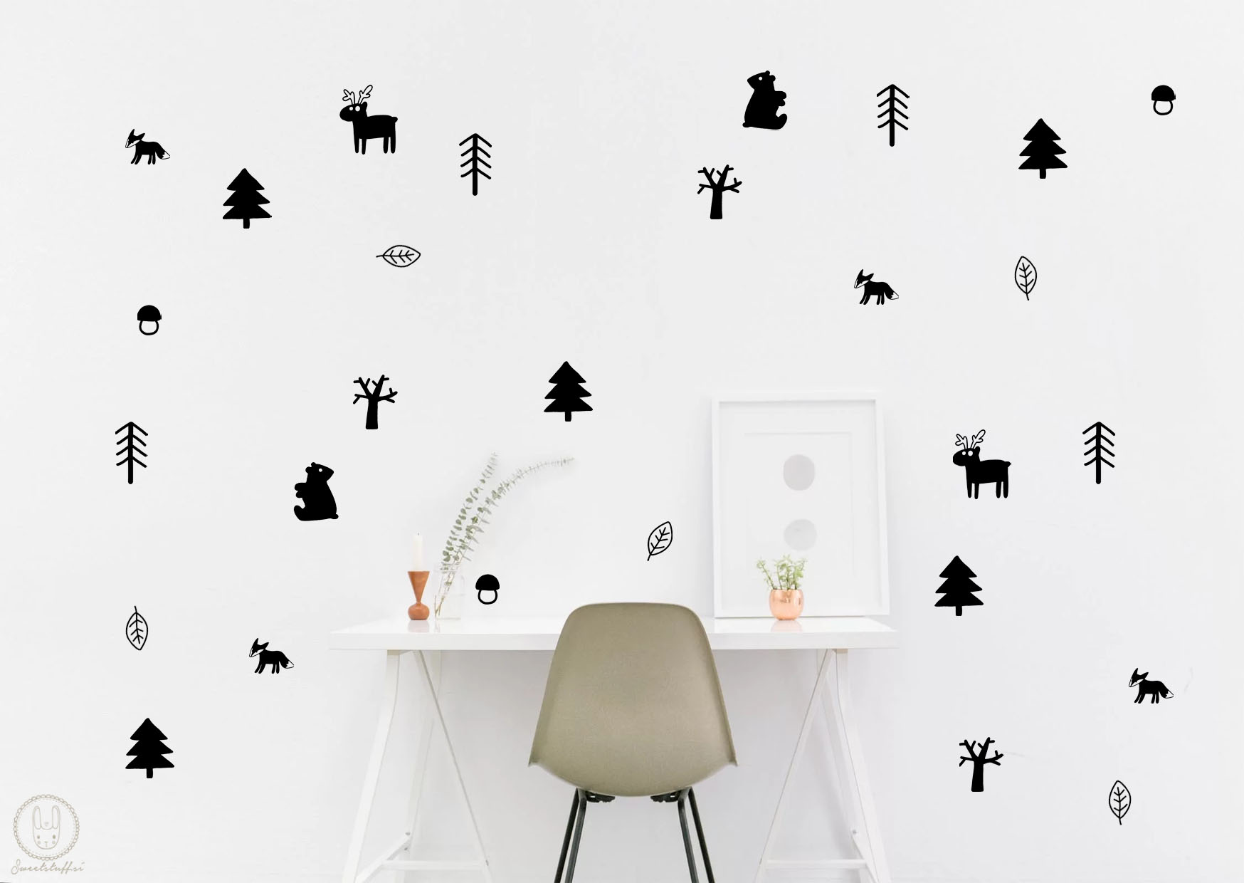 Komplet dekorativnih stenskih nalepk Gozd