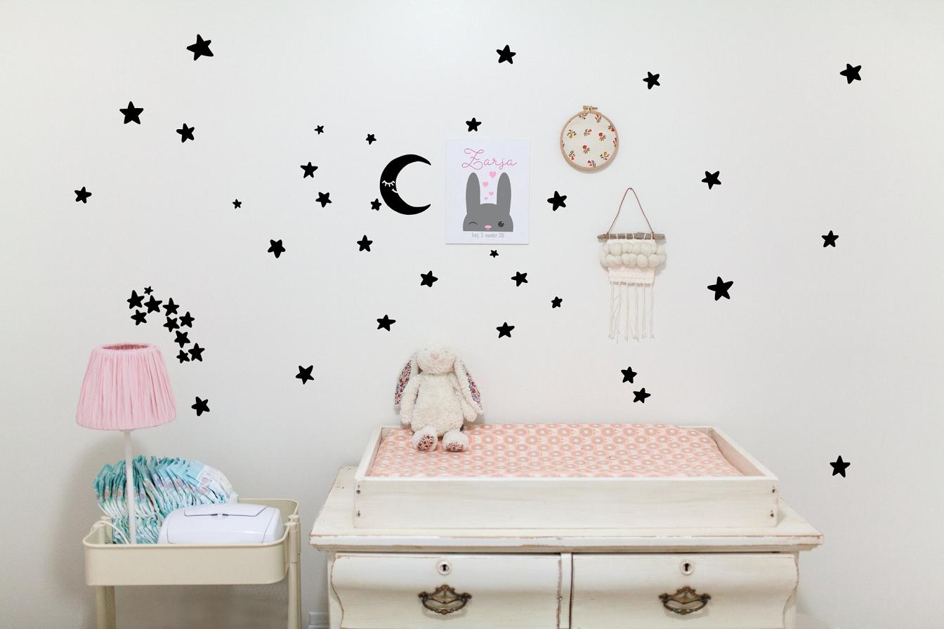 Komplet dekorativnih stenskih nalepk Mesec in zvezde