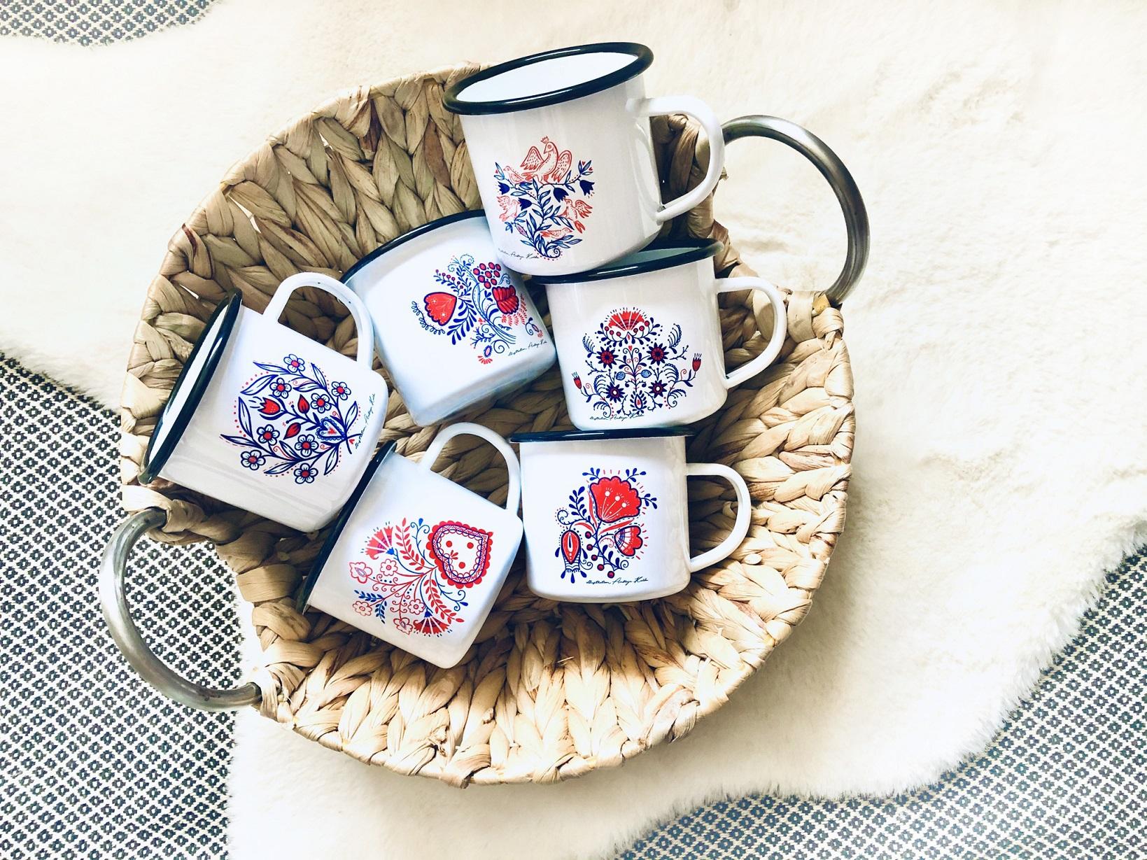 Emajliran lonček z motivom slovenske ornamentike 2