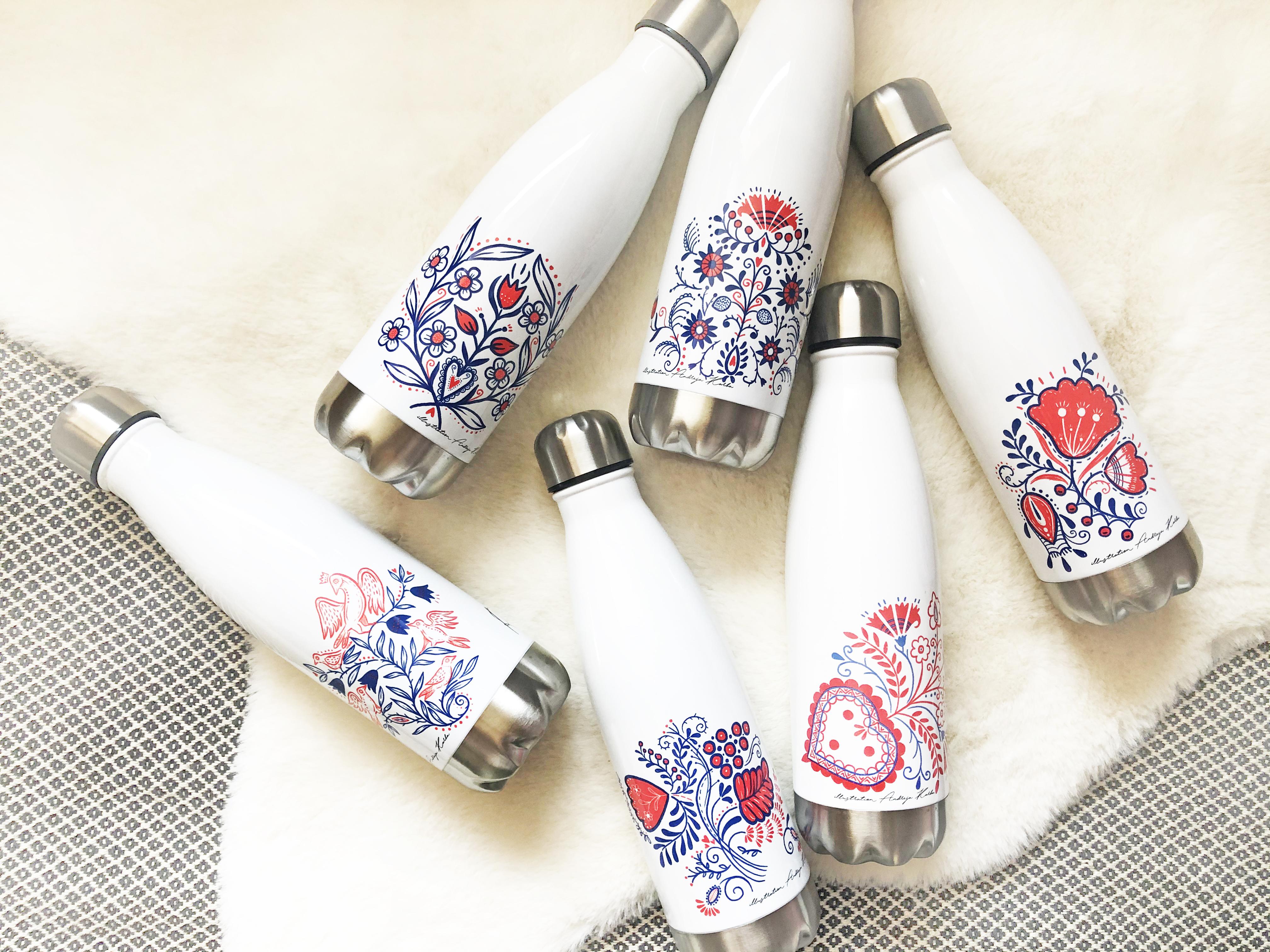 Termo flaška z motivom slovenske ornamentike 1
